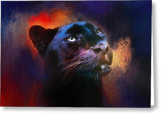 Wildcats Greeting Cards - Colorful Expressions Black Leopard Greeting Card by Jai Johnson
