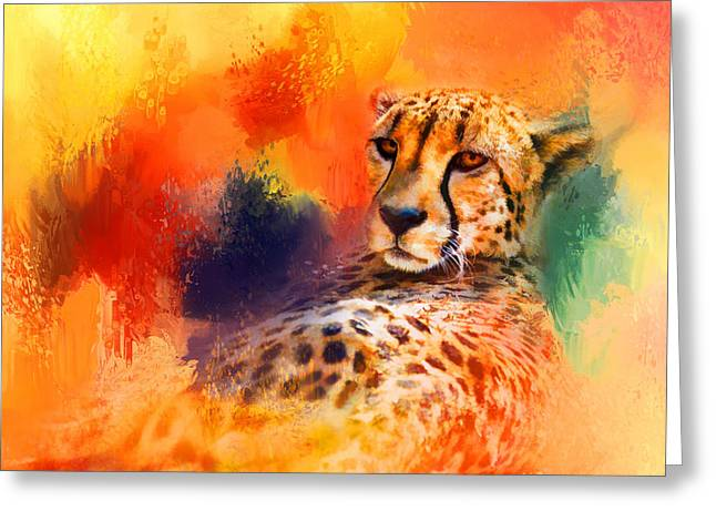 Wildcats Greeting Cards - Colorful Expressions Cheetah Greeting Card by Jai Johnson
