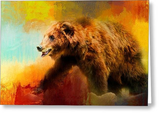 Red Abstracts Greeting Cards - Colorful Expressions Grizzly Bear Greeting Card by Jai Johnson