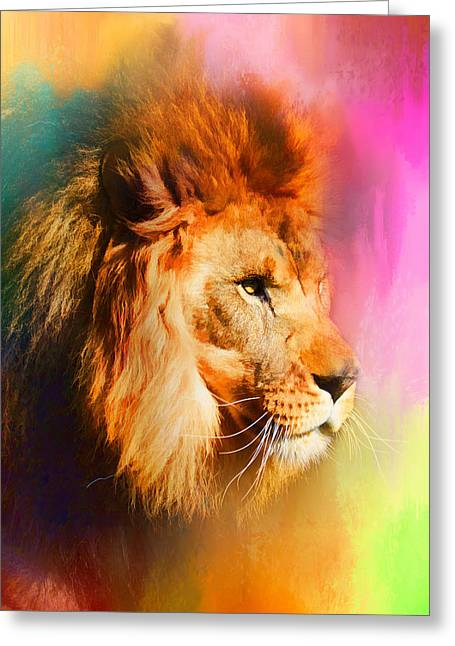 Wildcats Greeting Cards - Colorful Expressions Lion Greeting Card by Jai Johnson