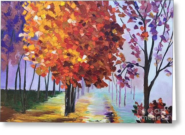 Pallet Knife Greeting Cards - Colorful Fall Greeting Card by Viktoriya Sirris
