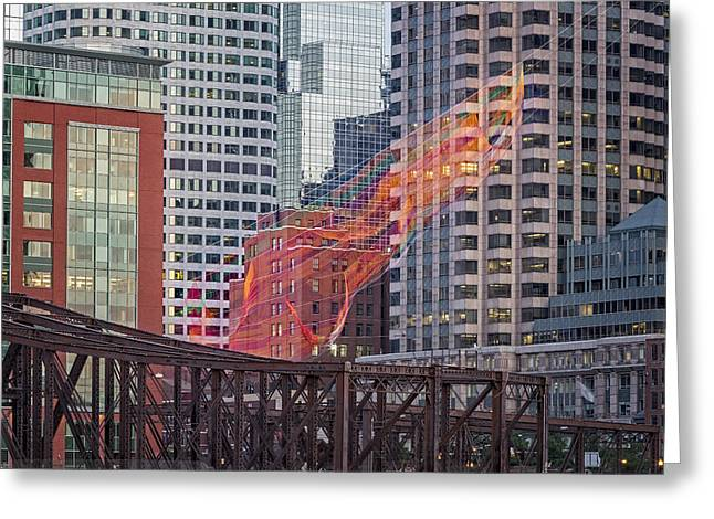 Old North Bridge Greeting Cards - Colorful Fibers Over The Boston Skyline Greeting Card by Susan Candelario