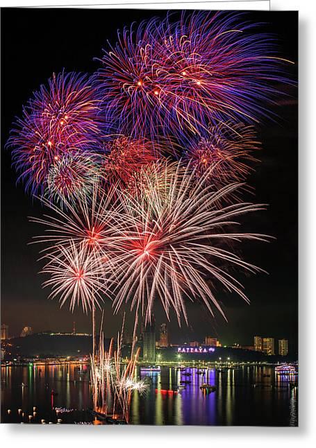 Colorful Fireworks On Pattaya City Greeting Card by Anek Suwannaphoom