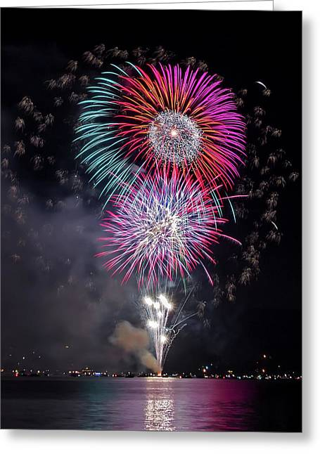 Pyrotechnics Greeting Cards - Colorful Fireworks Over The Lake Greeting Card by Luc Mena
