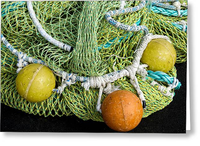 Greeting Cards - Colorful Fishing Nets and Buoys Greeting Card by Carol Leigh