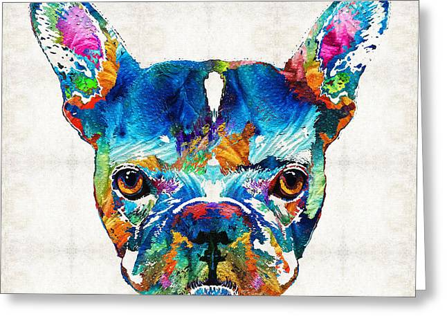 Happy Dogs Cute Dogs Greeting Cards - Colorful French Bulldog Dog Art By Sharon Cummings Greeting Card by Sharon Cummings