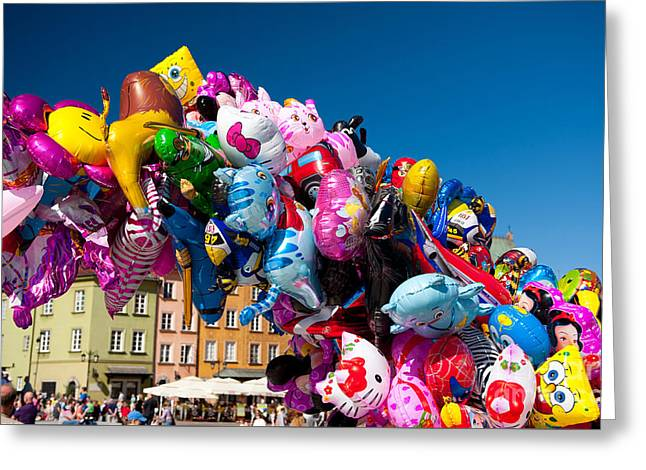 Colorful Funny Balloons At Old Town Greeting Card by Arletta Cwalina