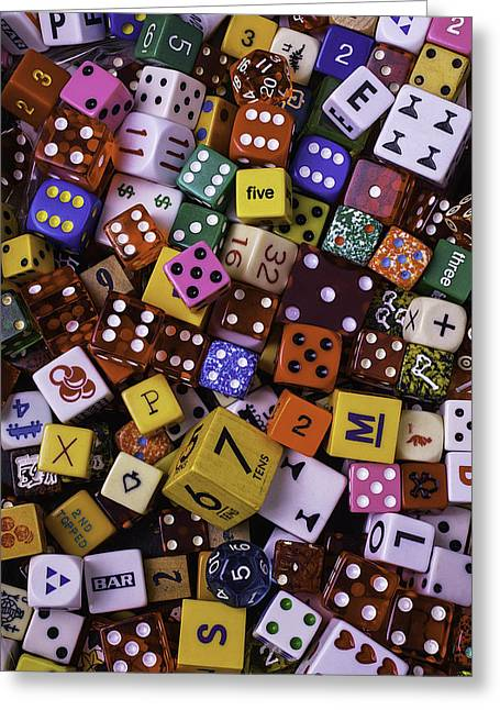Dice Greeting Cards - Colorful Game Dice Greeting Card by Garry Gay