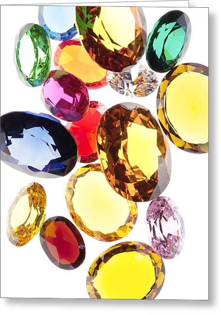 Clear Cut Greeting Cards - Colorful Gems Greeting Card by Setsiri Silapasuwanchai