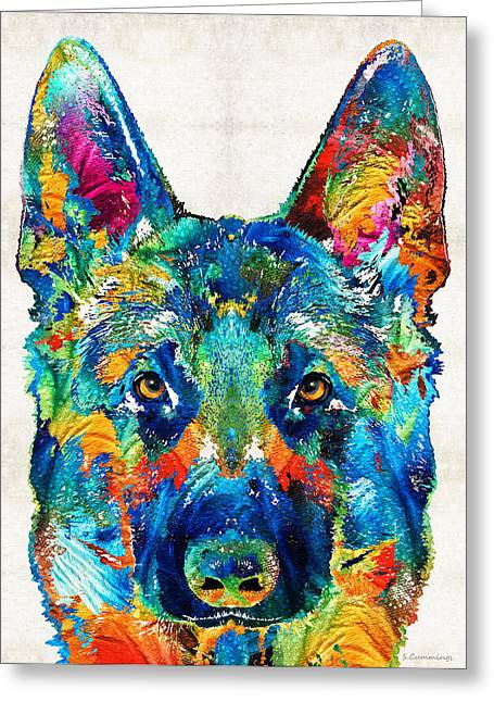 Rescued Animals Greeting Cards - Colorful German Shepherd Dog Art By Sharon Cummings Greeting Card by Sharon Cummings