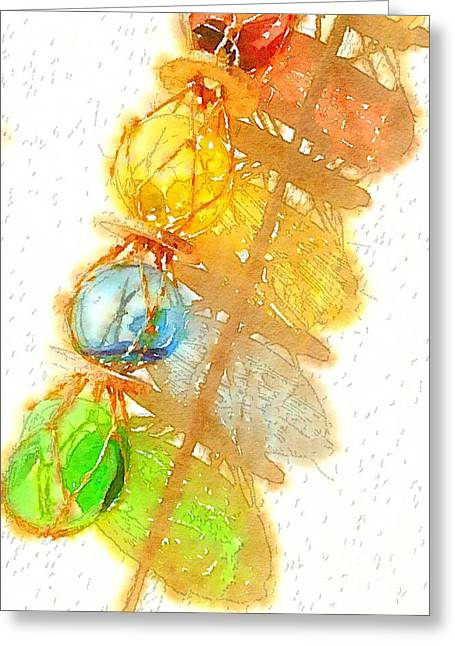 Glass Buoys Greeting Cards - Colorful Glass Buoys Greeting Card by Carol McGunagle