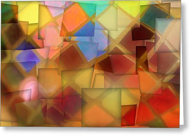 Colorful Glass Cubes Greeting Card by Dan Sproul