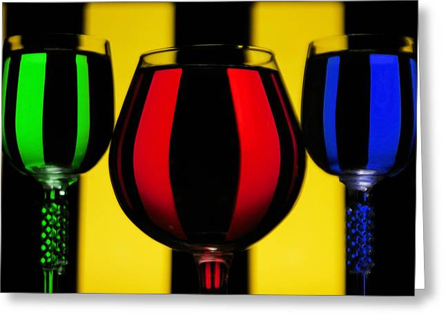 Cocktails Glass Art Greeting Cards - Colorful Glass Greeting Card by Felikss Veilands