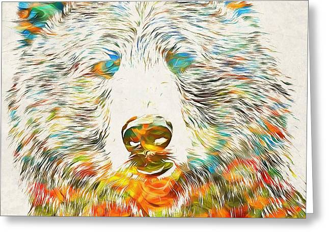 Cute Mixed Media Greeting Cards - Colorful Grizzly Bear Greeting Card by Dan Sproul