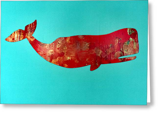 Ocean Mammals Greeting Cards - Colorful Happy Whale Abstract Greeting Card by Bill Hayes
