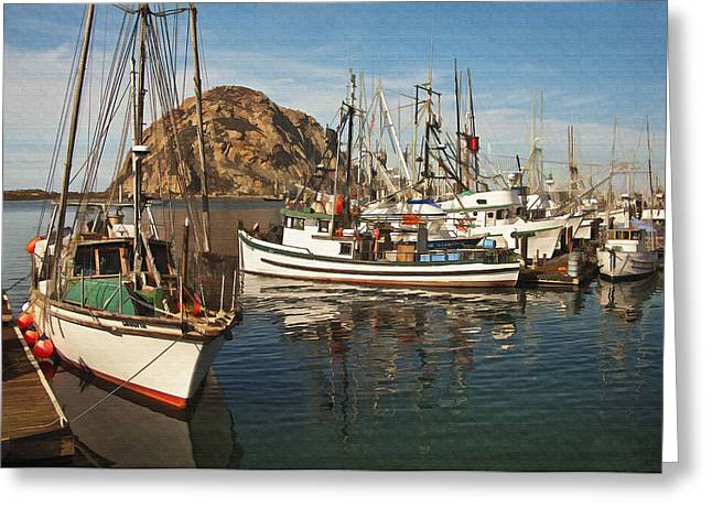 Ocean. Reflection Digital Art Greeting Cards - Colorful Harbor Greeting Card by Sharon Foster