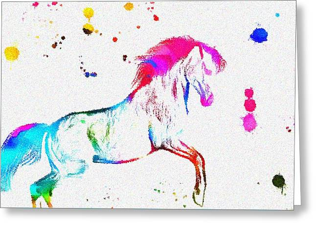 Wet Paint Greeting Cards - Colorful Horse Paint Splatter Greeting Card by Dan Sproul