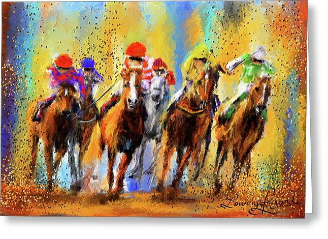 Race Horse Greeting Cards - Colorful Horse Racing Impressionist Paintings Greeting Card by Lourry Legarde