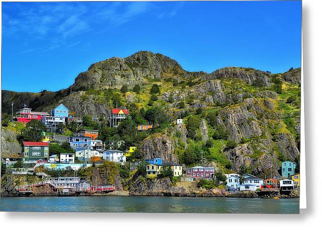 Historic Home Greeting Cards - Colorful houses in Newfoundland Greeting Card by Steve Hurt