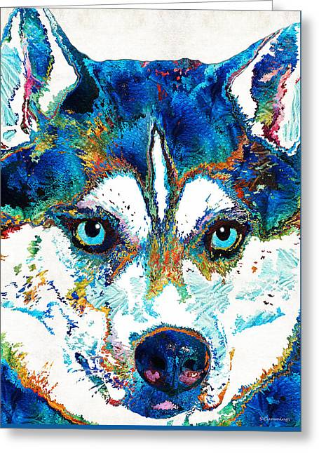 Working Dog Greeting Cards - Colorful Husky Dog Art by Sharon Cummings Greeting Card by Sharon Cummings