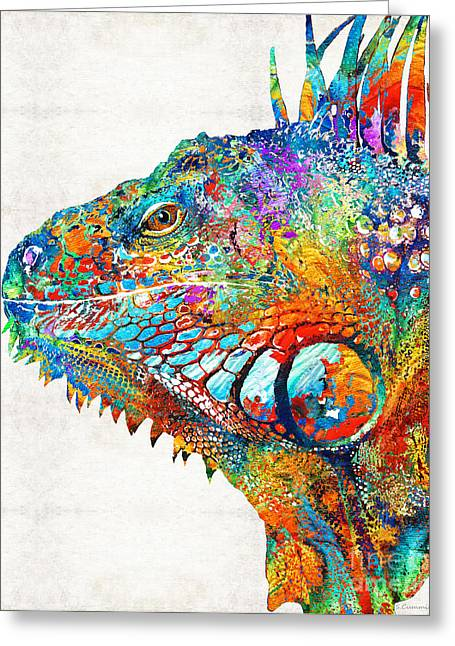 Cheery Greeting Cards - Colorful Iguana Art - One Cool Dude - Sharon Cummings Greeting Card by Sharon Cummings