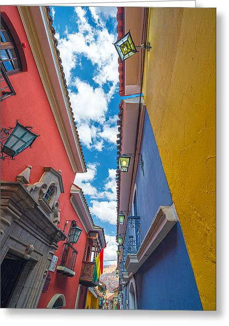La Paz Greeting Cards - Colorful Jaen Street in La Paz Greeting Card by Jess Kraft