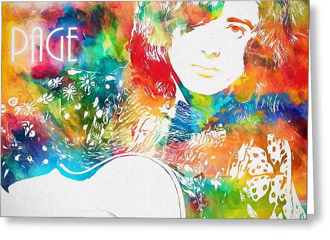 Colorful Jimmy Page Greeting Card by Dan Sproul