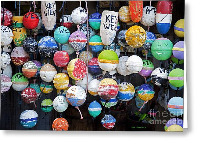 Tropical Beach Greeting Cards - Colorful Key West Lobster Buoys Greeting Card by John Stephens