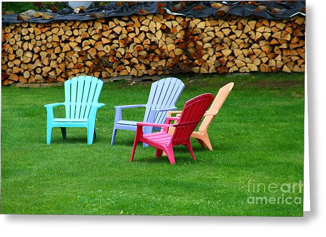 Colorful Lawn Chairs 3 Greeting Card by Marina McLain