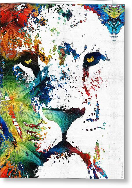 Colorful Lion Art 2 By Sharon Cummings Greeting Card by Sharon Cummings