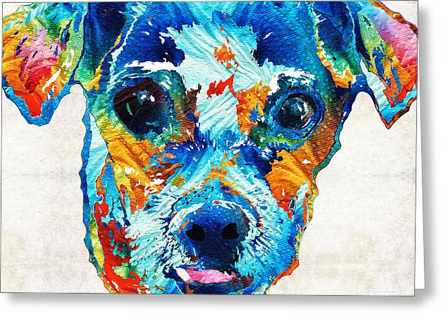 Happy Dogs Cute Dogs Greeting Cards - Colorful Little Dog Pop Art by Sharon Cummings Greeting Card by Sharon Cummings
