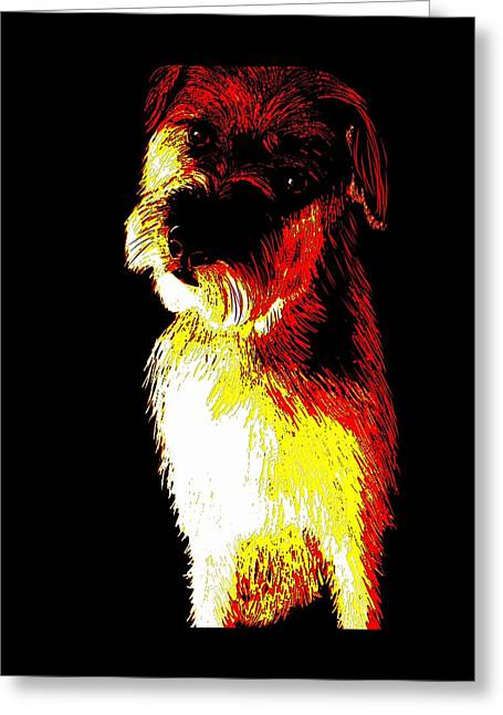 Puppy Digital Art Greeting Cards - Colorful little terrier puppy Greeting Card by Karen Harding