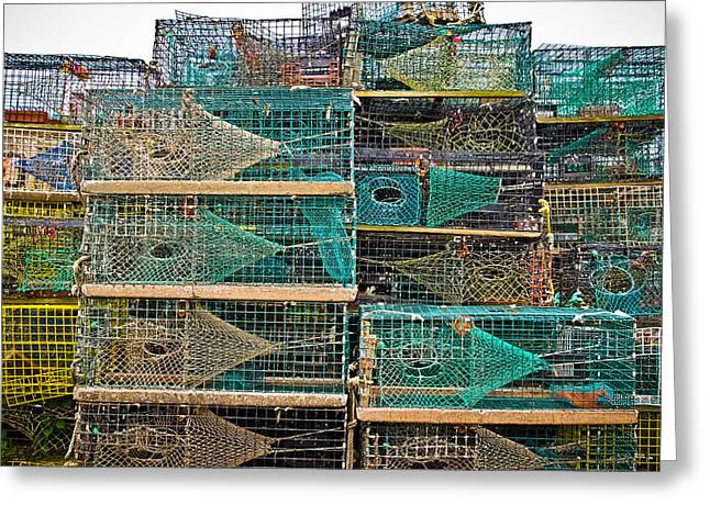 Colorful Lobster Traps Greeting Card by Colleen Kammerer