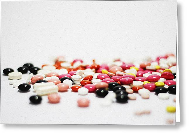 Medical Greeting Cards - Colorful medications on table Greeting Card by Queso Espinosa