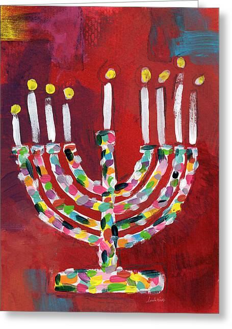 Colorful Menorah- Art By Linda Woods Greeting Card by Linda Woods