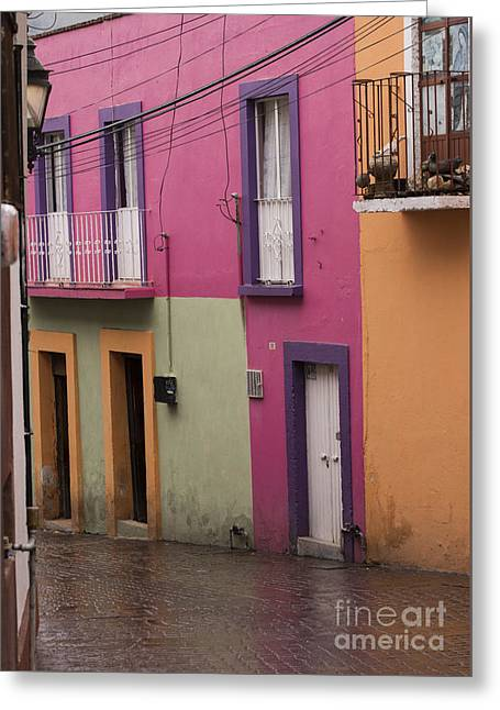 Architectural Detail Greeting Cards - Colorful Mexican Homes Greeting Card by Juli Scalzi
