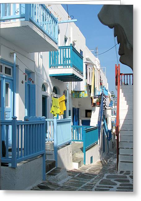 Stones Greeting Cards - Colorful Mykonos Greeting Card by Carla Parris