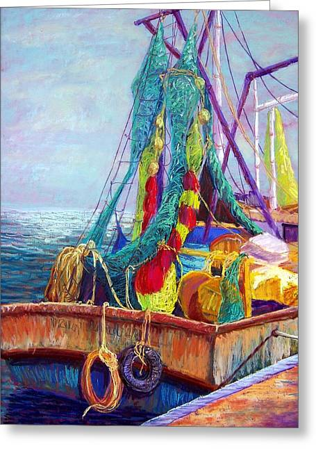 Ship Pastels Greeting Cards - Colorful Nets Greeting Card by Candy Mayer