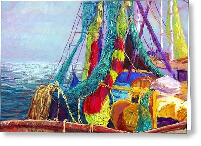 Colorful Nets Greeting Card by Candy Mayer