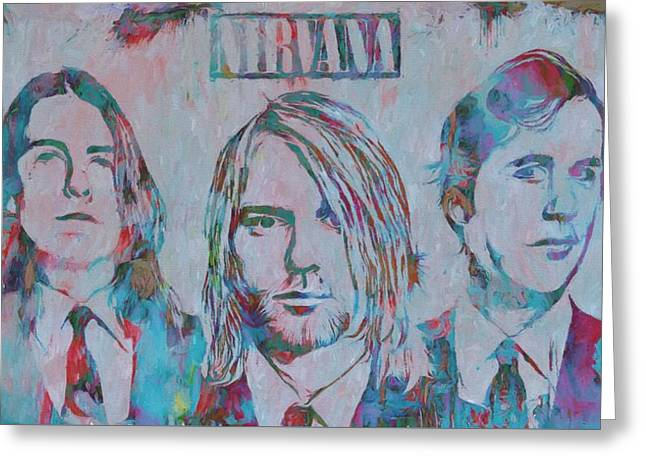 Colorful Nirvana Grunge Greeting Card by Dan Sproul