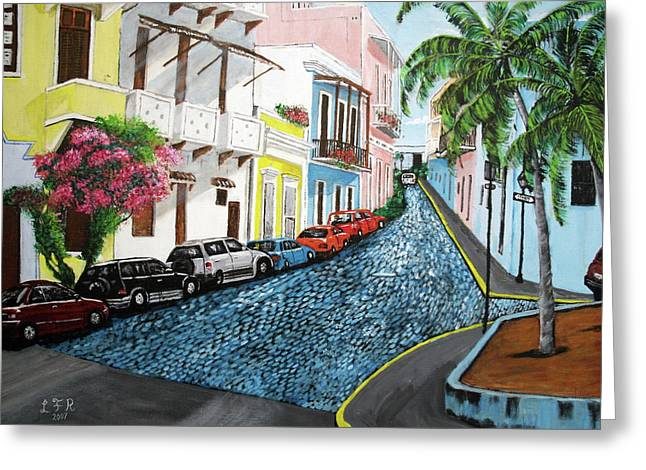Cobblestone Greeting Cards - Colorful Old San Juan Greeting Card by Luis F Rodriguez