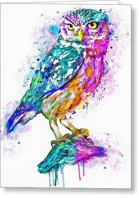 Colorful Owl Greeting Card by Marian Voicu