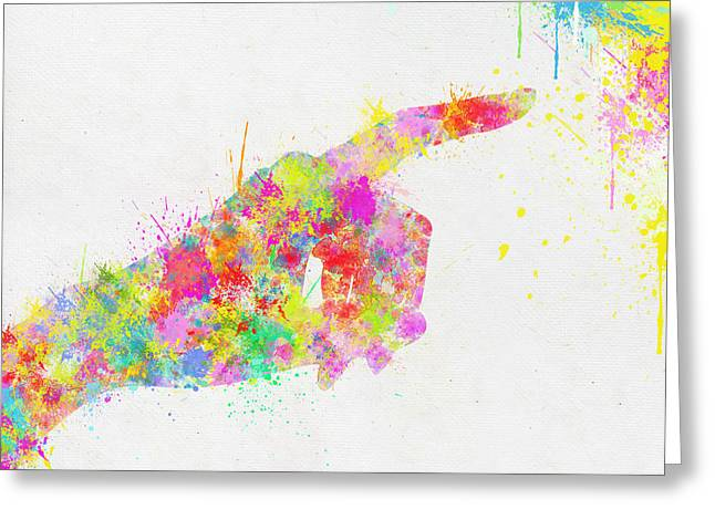 Colorful Painting Of Hand Pointing Finger Greeting Card by Setsiri Silapasuwanchai