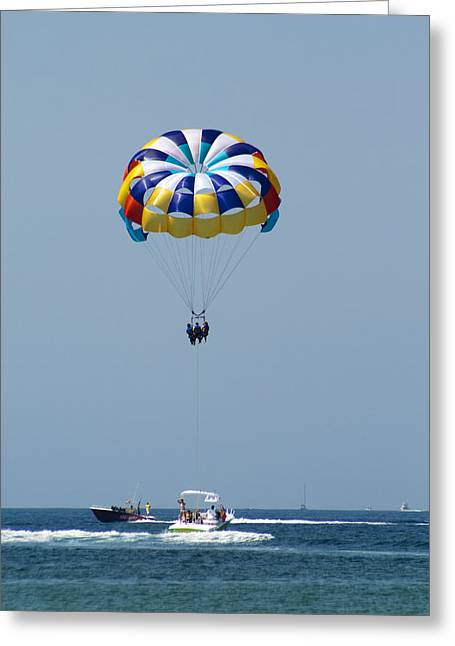 Colorful Parasailing Greeting Card by Kathy Clark