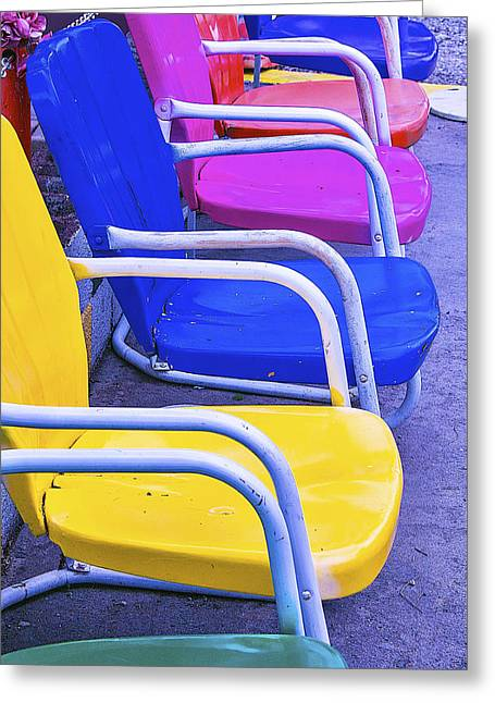 Empty Chairs Greeting Cards - Colorful Patio Chairs Greeting Card by Garry Gay