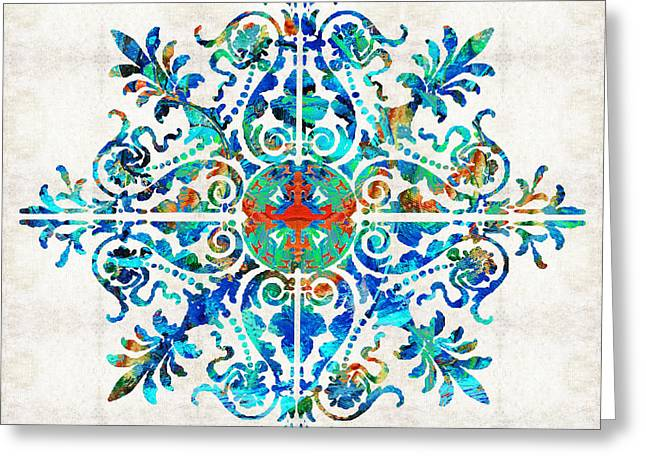 Colorful Pattern Art - Color Fusion Design 5 By Sharon Cummings Greeting Card by Sharon Cummings