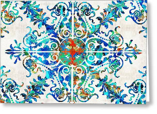 Colorful Pattern Art - Color Fusion Design 6 By Sharon Cummings Greeting Card by Sharon Cummings