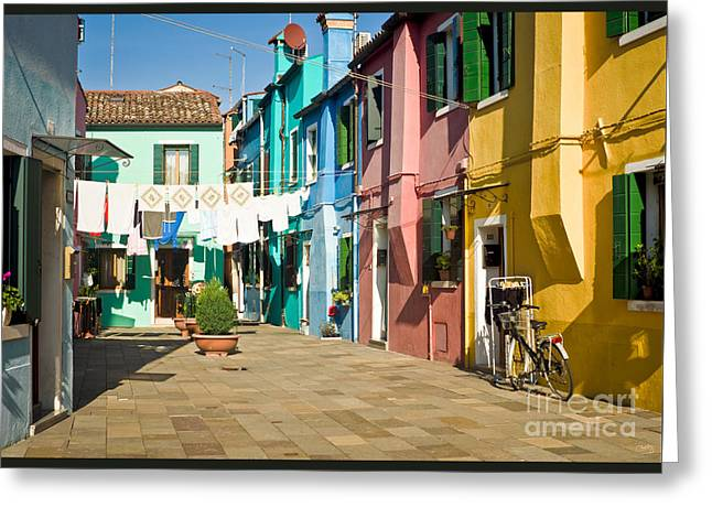 Charly Greeting Cards - Colorful Piazza Greeting Card by Prints of Italy