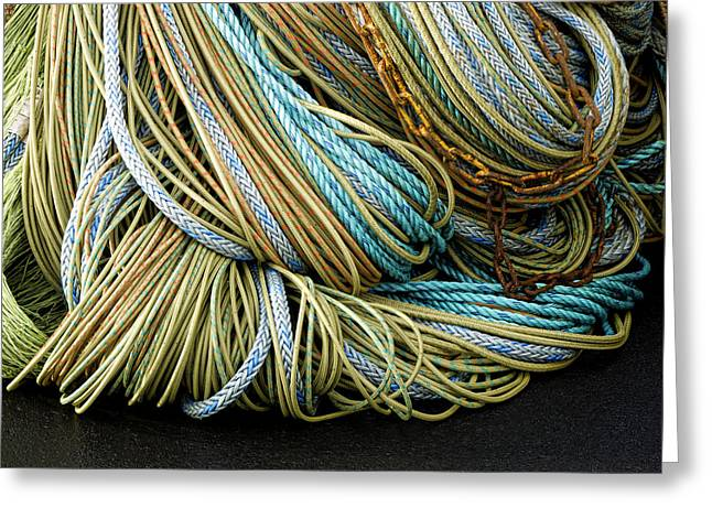 Rectangles Greeting Cards - Colorful Pile of Fishing Nets and Ropes Greeting Card by Carol Leigh