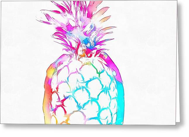 Colorful Pineapple Greeting Card by Dan Sproul
